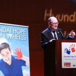 COSTA MESA, CA - APRIL 17: Dr. Leonard Sender, M.D., Medical Director of the Hyundai Cancer Institute at CHOC Children's speaks during the Hyundai Hope on Wheels Handprint Ceremony at the Segerstrom Center for the Arts - Samueli Theater on April 17, 2012 in Costa Mesa, California. (Photo by Ryan Miller/Capture Imaging)